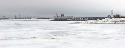 Hydroelectric station on a river Volga in winter Stock Photo