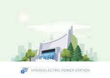 Hydroelectric Water Power Station. Vector illustration of hydroelectric water power station building icon with sun and urban city skyscrapers skyline on green Stock Image