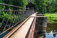 Hydroelectricity. And bridge over the river stock image