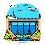 Hydroelectricity power plant. Electricity produced from hydropower. Powerhouse or generating station. Industrial vector illustration