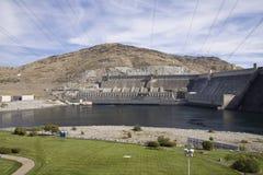 Hydroelektrisk plats för storslagen Coulee fördämning, Columbia River, Washington Arkivbild