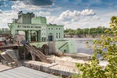 Hydroelektryczna elektrownia na Volkhov rzece Fotografia Royalty Free