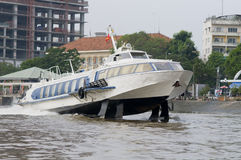 Hydrofoil boat on Saigon River Royalty Free Stock Photos