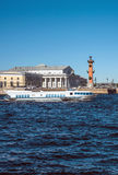 The hydrofoil boat sails along the Neva River in St. Petersburg. Not far from Vasilievsky Island and the Exchange building Royalty Free Stock Images