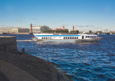 Hydrofoil boat sails along the Neva river in St. Petersburg,. Russia Royalty Free Stock Images