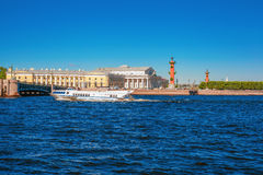 The hydrofoil boat sails along the Neva River in St. Petersburg, Russia. Hydrofoil boat floats on Neva river in Saint Petersburg, near Vasilyevsky Island Stock Photo