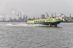 Hydrofoil at full speed in a dutch canal royalty free stock photos