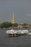 Hydrofoil Meteor on the Neva in St. Petersburg, Russia Stock Image