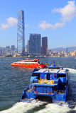Hydrofoil turbojet boats. Two turbojet hydrofoil boats on the move at victoria harbor, hong kong Stock Photos