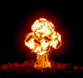 Hydrogen bomb exploded. In the night Stock Images