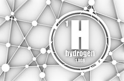 Hydrogen chemical element. Sign with atomic number and atomic weight. Chemical element of periodic table. Molecule And Communication Background. Connected Stock Image