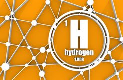 Hydrogen chemical element. Sign with atomic number and atomic weight. Chemical element of periodic table. Molecule And Communication Background. Connected Stock Photography
