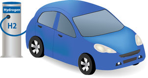 Hydrogen Fuel Cell Car. Charging at the Hydrogen station. Vehicle refueling on the hydrogen filling station stock illustration