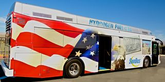 Hydrogen fuel cell transit bus Royalty Free Stock Images