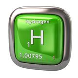 Hydrogen H chemical element from the periodic table green icon vector illustration