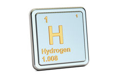 Hydrogen H, chemical element sign. 3D rendering Stock Image