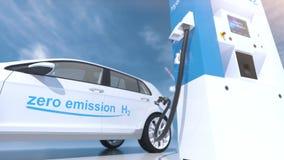 Hydrogen logo on gas station. h2 combustion engine for emission free ecofriendly transport
