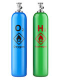 Hydrogen and oxygen cylinders with compressed gas stock images