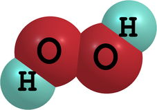 Hydrogen peroxide (H2O2) molecular structure isolated on white. Hydrogen peroxide is a strong oxidizer. It is a colorless liquid, slightly more viscous than Stock Image