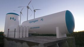Hydrogen renewable energy production - hydrogen gas for clean electricity solar and windturbine facility. 3d rendering