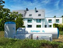 Free Hydrogen Renewable Energy Production - Hydrogen Gas For Clean Electricity At Real Estate Home Stock Photography - 205155822