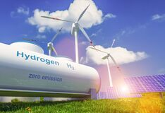Free Hydrogen Renewable Energy Production - Hydrogen Gas For Clean Electricity Solar And Windturbine Facility. 3d Rendering Royalty Free Stock Photography - 189672237