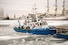 Hydrographic ship trapped Stock Images