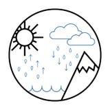 Hydrologisk cirkuleringssymbol, illustrationen för vattencirkuleringsvektor stock illustrationer