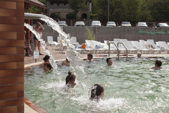 The hydromassage in the pool with thermal waters in Beregovo Stock Photos