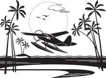 Hydroplan bierze daleko od wyspy w oceanie ilustracji