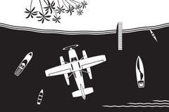 Hydroplan lata wyspa w morzu ilustracji