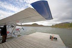 Hydroplan på vattnet Fotografering för Bildbyråer