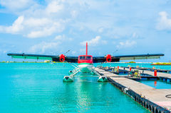 Hydroplane all'aeroporto maschio, Maldive Fotografie Stock