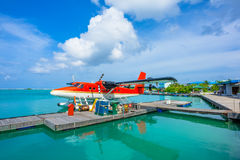 Hydroplane bij Mannelijke luchthaven, de Maldiven Stock Foto