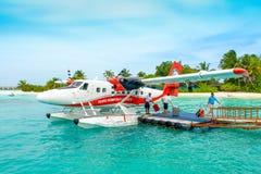 Hydroplane blisko drewnianego mola Obraz Royalty Free