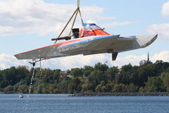 Hydroplane Boat. Number 15 taken in Geneva, New York. Inboard Hydroplane .Mid American Championship Hydroplanes.  Boat getting lifted out Royalty Free Stock Photo