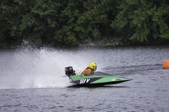 Hydroplane Boat Racing. Boat races featuring small hydroplane boats powered by outboard motors Stock Images