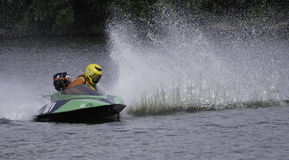 Hydroplane Boat Racing. Boat races featuring small hydroplane boats powered by outboard motors Stock Photography