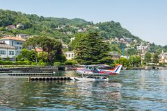 Hydroplane Cessna in Como Lake, Italy Royalty Free Stock Photography