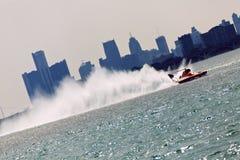 Hydroplane Detroit Skyline Stock Image