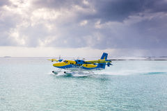 Hydroplane på den manliga flygplatsen Arkivbilder
