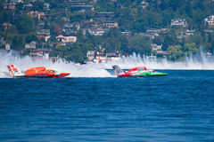 Hydroplane race at Chevrolet Cup Seattle Seafair. Chevrolet Cup hydroplane race at  Seattle Seafair August 1, 2009 Royalty Free Stock Images