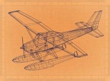 Hydroplane - Retro Blueprint. Shoot of the Hydroplane - Retro Blueprint royalty free illustration