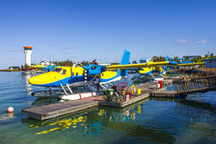 Hydroplane standing at Male domestic airport, the Maldives stock images