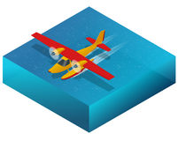 Hydroplane on the water. Flat 3d isometric illustration For infographics, games and design. Air transport for travel and. Work Royalty Free Stock Photos