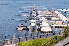 Hydroplanes docked in a port Royalty Free Stock Photo