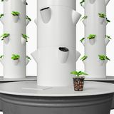 Hydroponic Growing System with Independent Water Tank. Hydroponics & Aeroponics sistem uses modular stackable growing pots. Vertical hydroponics garden growing Stock Image