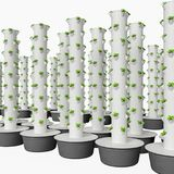 Hydroponic Growing System uses modular stackable growing pots. Hydroponics & Aeroponics sistem uses modular stackable growing pots. Vertical hydroponics garden Royalty Free Stock Photo