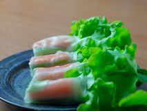Hydroponic Vegetable Salad Roll Crab stick royalty free stock photos