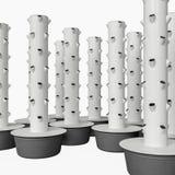 Modular Aeroponics Tower with growing pots. Hydroponics & Aeroponics sistem uses modular stackable growing pots. Vertical hydroponics garden growing vegetables Stock Photos